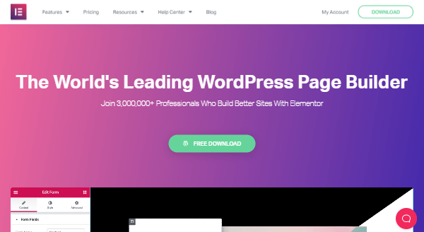Elementor - Drag-and-Drop Website Builder viðbót fyrir WordPress