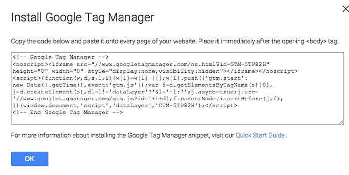 kopier Google Tag Manager-containerkode