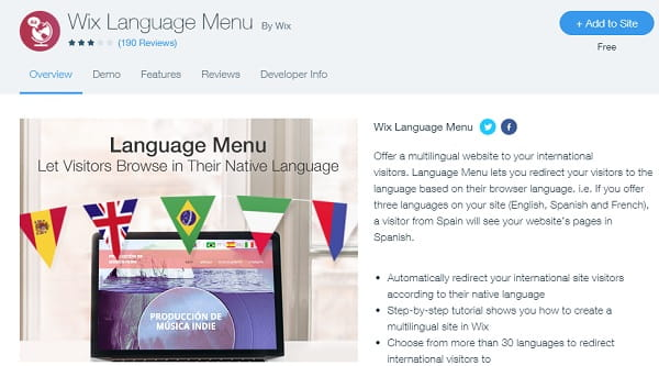 Wix Language menu- ն
